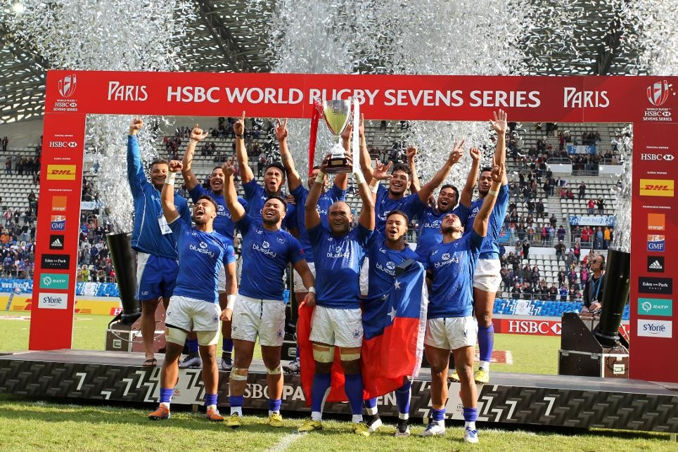 Samoa overturn deficit to win first Cup of Sevens World Series season