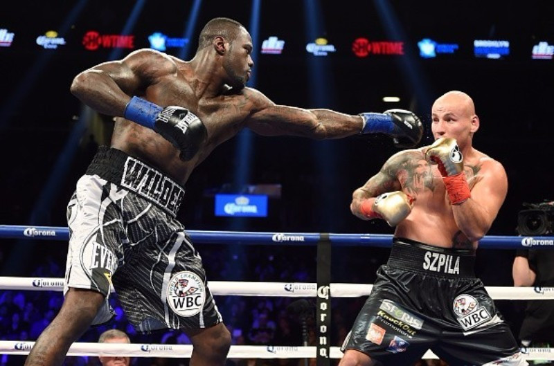 The bout between Deontay Wilder (left) and Alexander Povetkin is currently postponed - but Wilder's camp have pulled out completely ©Getty Images