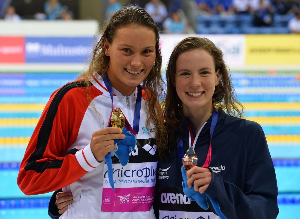 Denmark's Mie Nielsen is pictured here with bronze medallist Kathleen Dawson of Britain