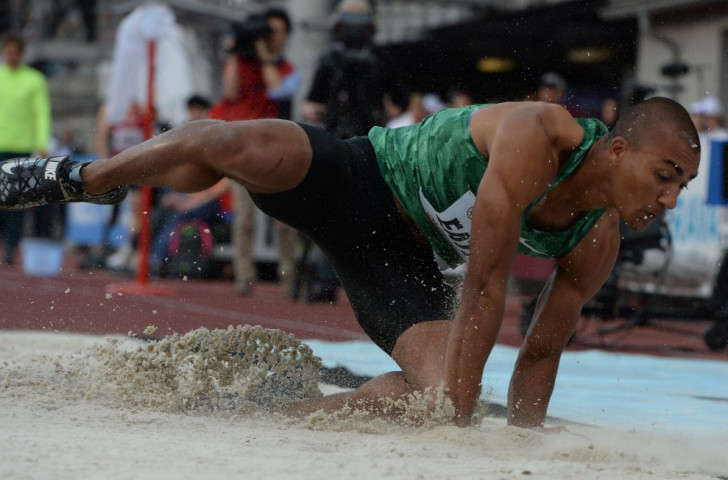 World and Olympic decathlon champion Ashton Eaton long jumping at Ostrava's Golden Spike meeting. A thigh injury after his second effort caused him to pull out of his scheduled meeting with Usain Bolt over 100 metres ©Getty Images