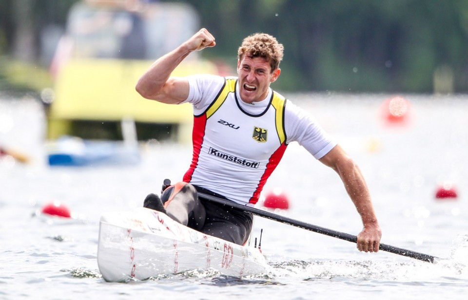 Sebastian Brendel claimed gold on home water after his Brazilian rival fell-in ©ICF