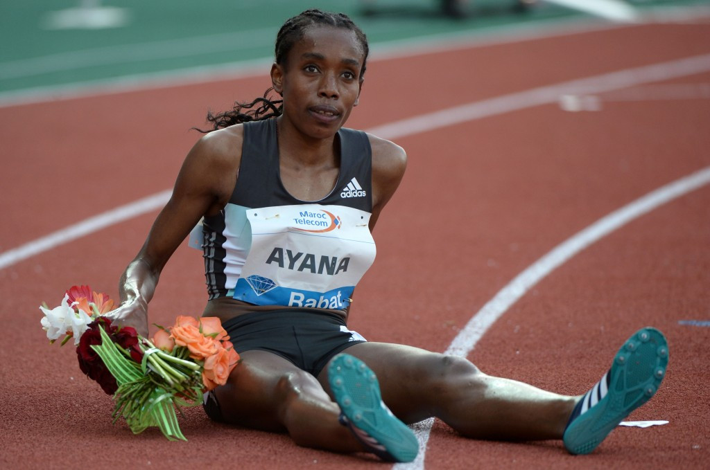 Almaz Ayana after running the fifth fastest 5,000m time in history in Rabat ©Getty Images