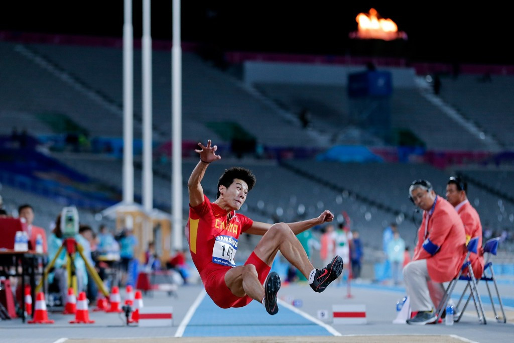 Gao Xinglong gold in the men's long jump was one of six titles won by China on the second day of competition