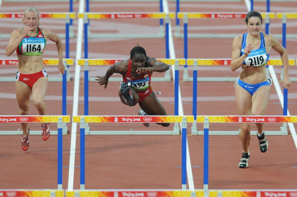 Josephine Onyia (centre) competing at the Beijing 2008 Olympic Games ©Getty Images