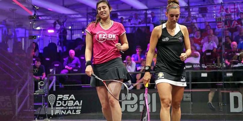 Women's world champion Nour El Sherbini squeezed through to the semi-finals in Dubai ©PSA
