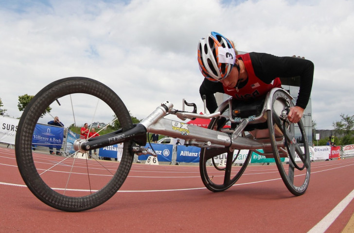 McFadden and Martin at the treble at wheelchair racing event in Switzerland