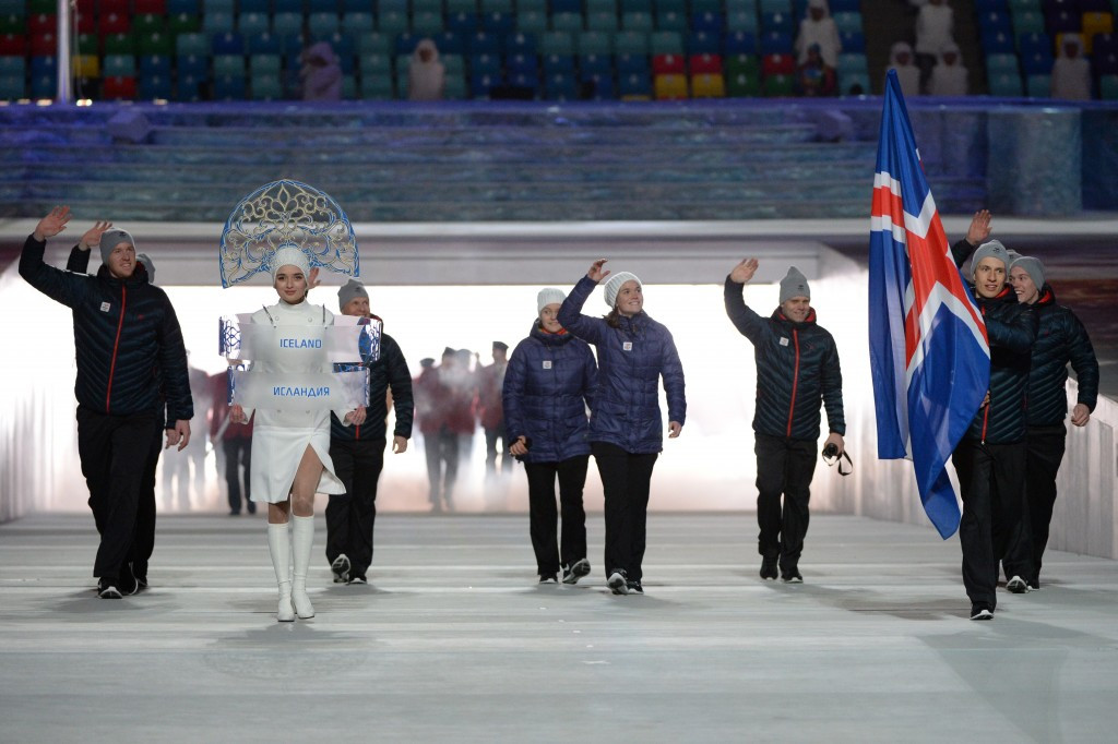 Cross-country skier Saevar Birgisson carried the Iceland flag at the Opening Ceremony of Sochi 2014 ©FIS