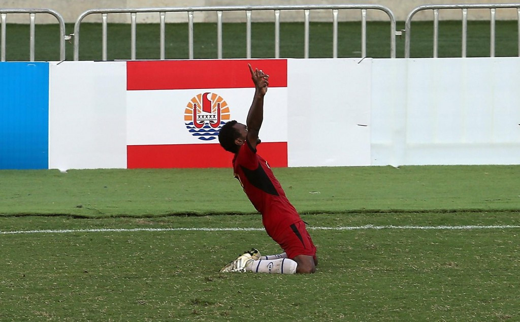 Raymond Gunemba celebrates his second goal for Papua New Guinea before ten-man Tahiti struck back