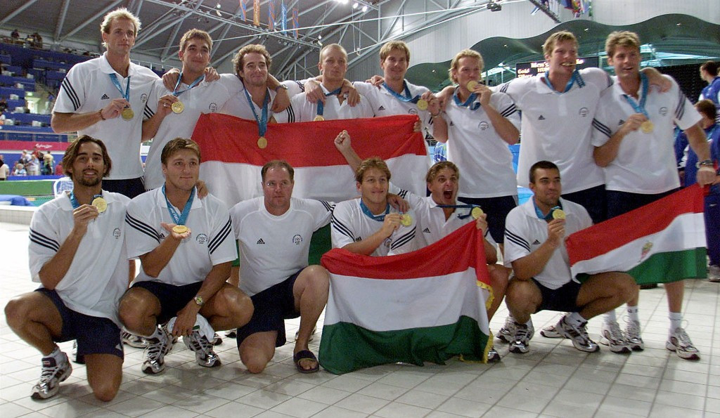 Hungary's water polo team celebrate winning the gold medal at Beijing 2008, their ninth title