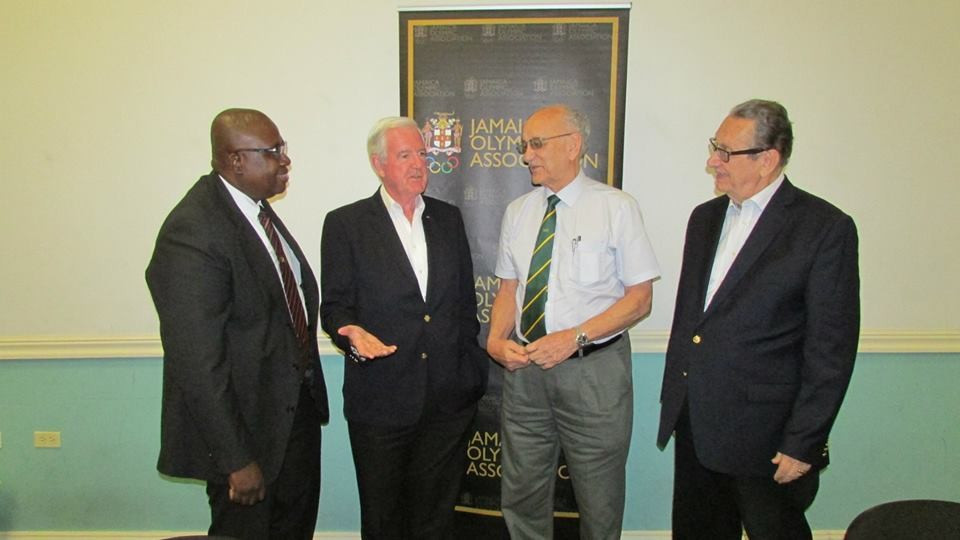 WADA President Sir Craig Reedie, second left, visited Jamaica last year to inspect the anti-doping programme following criticism about lack of testing of the country's top athletes ©JADCO