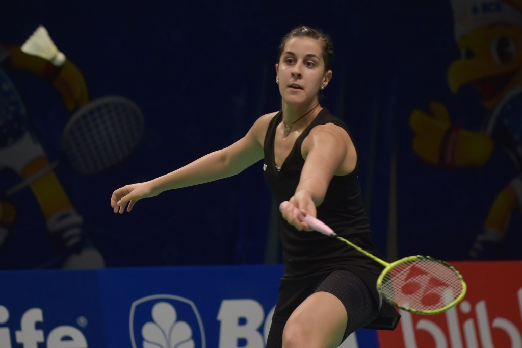 Carolina Marin will face rival Saina Nehwal in the women's quarter-finals tomorrow
