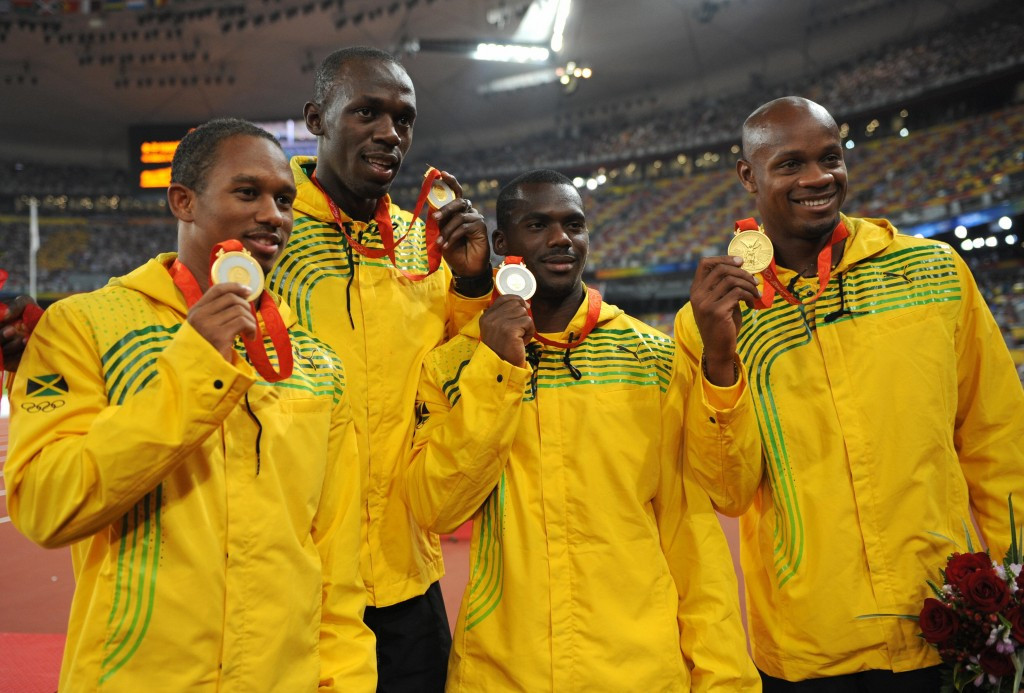 Nesta Carter, centre right, was a member of Jamaica's gold medal winning 4x100m team at the last two Olympic Games and past three World Championships, all alongside Usain Bolt