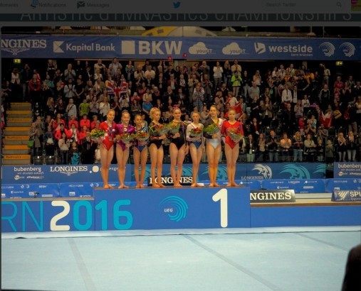 The finalists in the junior girls all-around final at the European Women's Artistic Gymnastics Championships are presented to the crowd after the final ©Bern 2016/Twitter