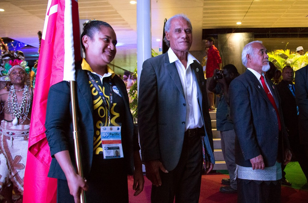 Tonga's Prime Minister Akilisi Pohiva. right, claims he would rather risk losing the 2019 Pacific Games than allow Feleti Sevele to continue as chairman and chief executive ©Getty Images