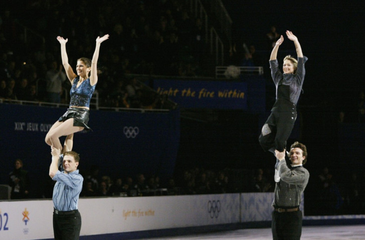Canada's ice skating pair of Jamie Sale and David Pelletier (left), pictured during the post 2002 Salt Lake Winter Games post-event exhibition, received a gold following a protest on the judging, so sharing the title with Russia's Elena Berezhnaya and Anton Sikharulidze ©Getty Images