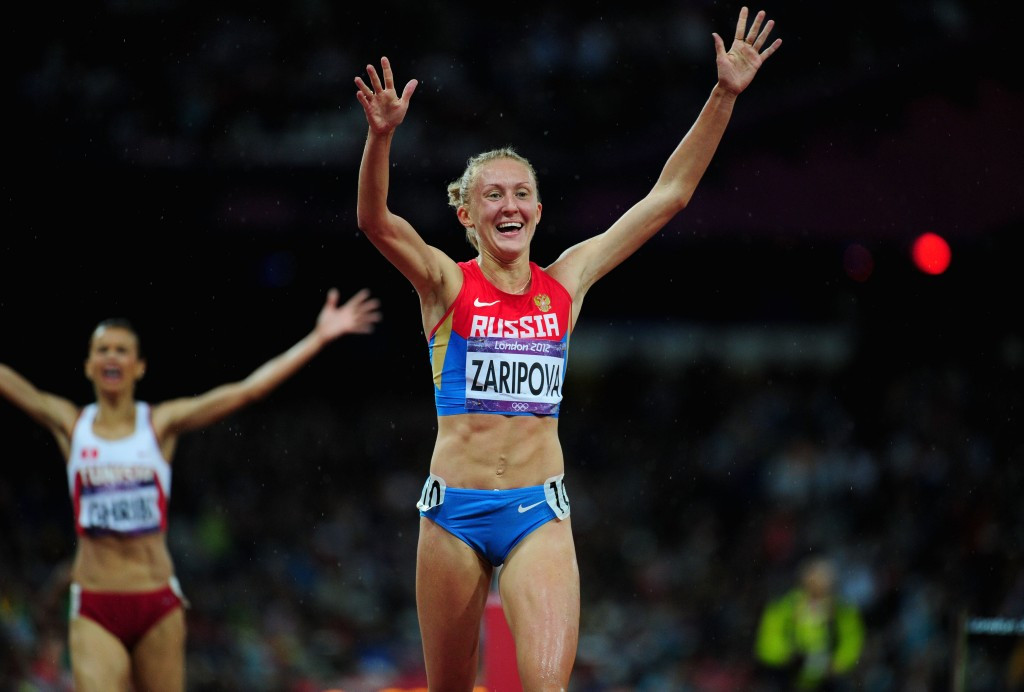 Russia's Yuliya Zaripova beat Habiba Ghribi to the women's 3,000 metres steeplechase Olympic gold medal at London 2012 but was banned for doping in January 2015 ©Getty Images