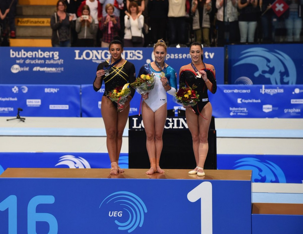 Home favourite Giulia Steingruber stands atop the floor exercise podium at the 2016 European Women's Artistic Gymnastics Championships in Switzerland's capital Bern ©Bern 2016/Twitter