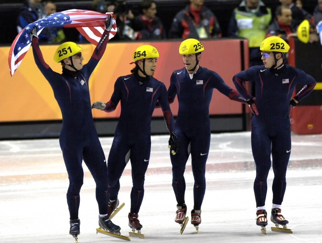 Alex Izykowski, left, a member of the men's American 5,000 metres relay team which earned Olympic bronze medals at Turin 2006, has been promoted to be put in charge of the women's short track team ©Getty Images