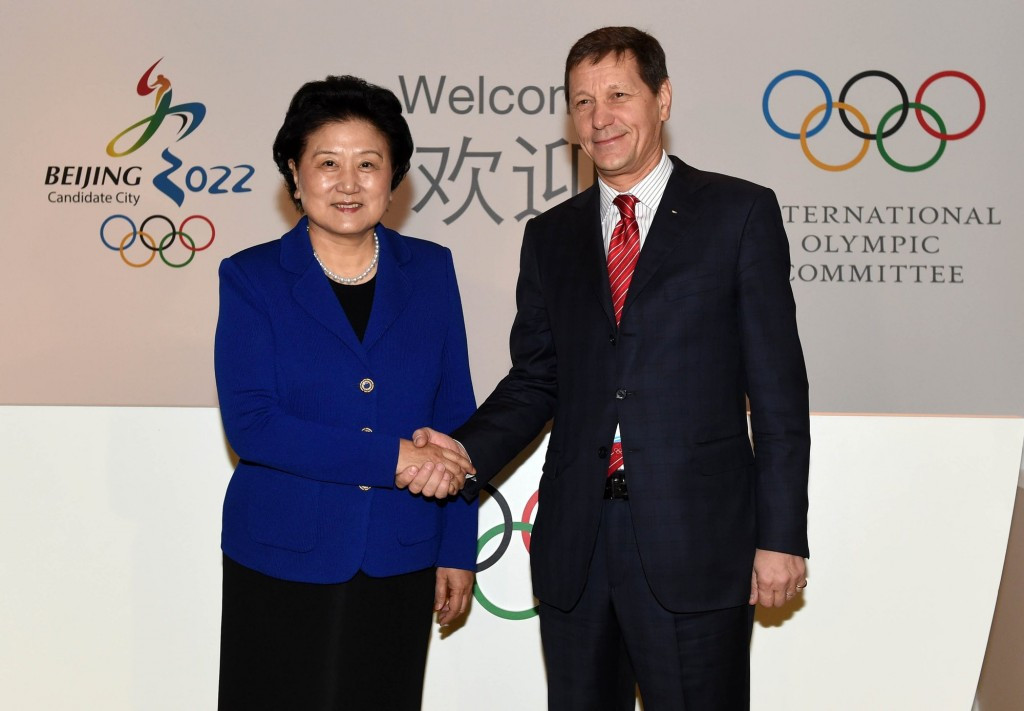 Chinese vice-premier Liu Yandong (left), pictured with IOC Evaluation Commission chair Alexander Zhukov, will lead Beijing's delegation ©Beijing 2022