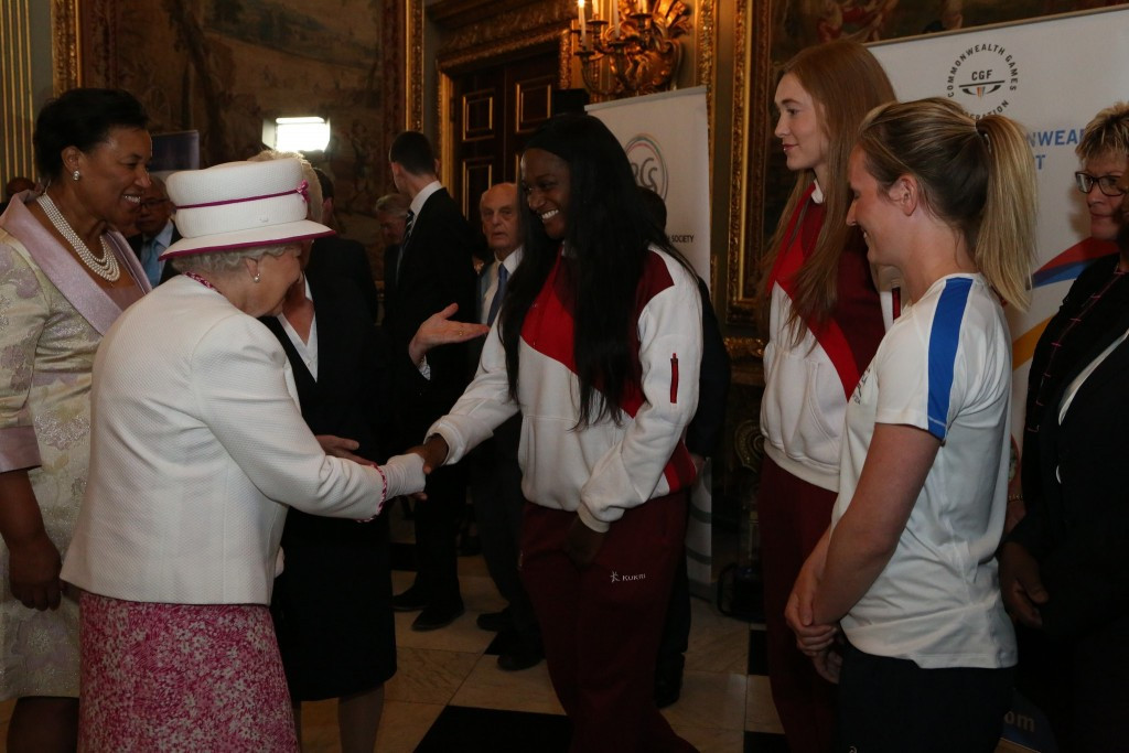 As part of the celebrations, The Queen met Commonwealth athletes, including England netball players Sasha Corbin (left) and Helen Housby (centre), and Scottish hockey player Ali Glasse-Davies (right)