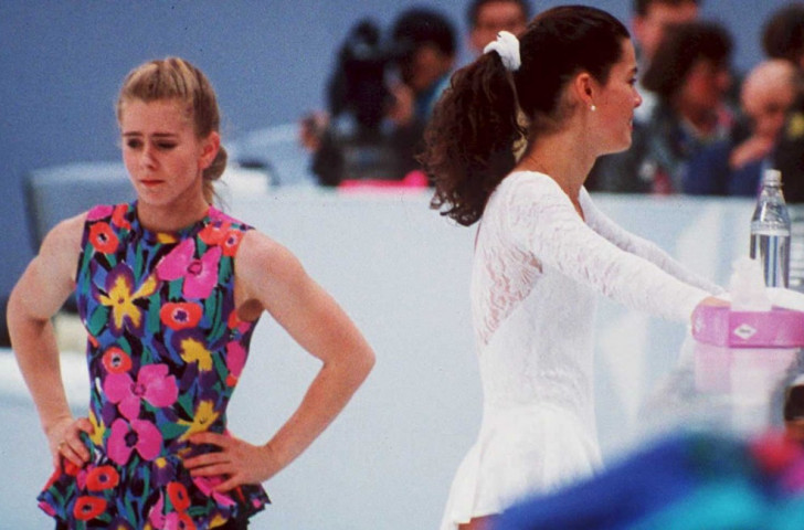 Tonya Harding (left) and rival Nancy Kerrigan, pictured in practice before the 1994 Winter Games. Harding was later banned from skating for life for her connection to the attack on Kerrigan before the Games