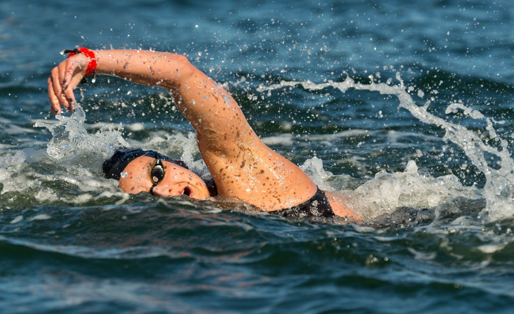 Two-time open water world champion Keri-Anne Payne finished second