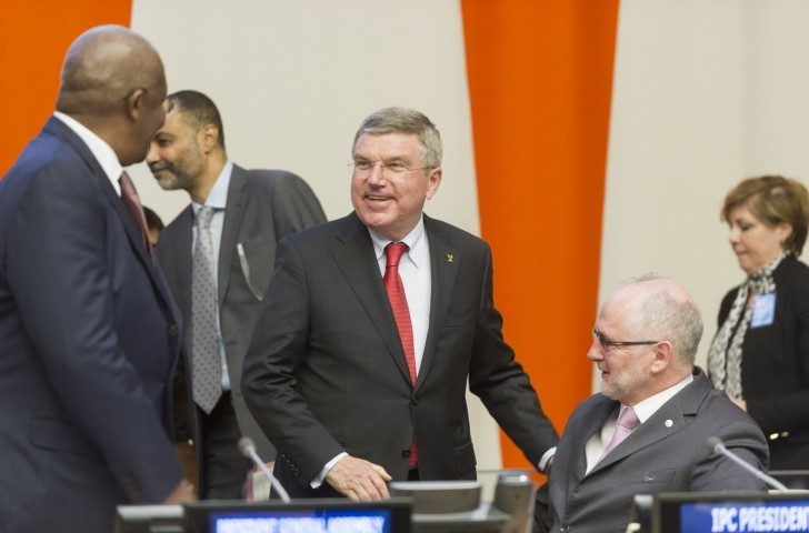 Sir Philip Craven, pictured, right, with IOC counterpart Thomas Bach at the United Nations in 2015 ©IPC