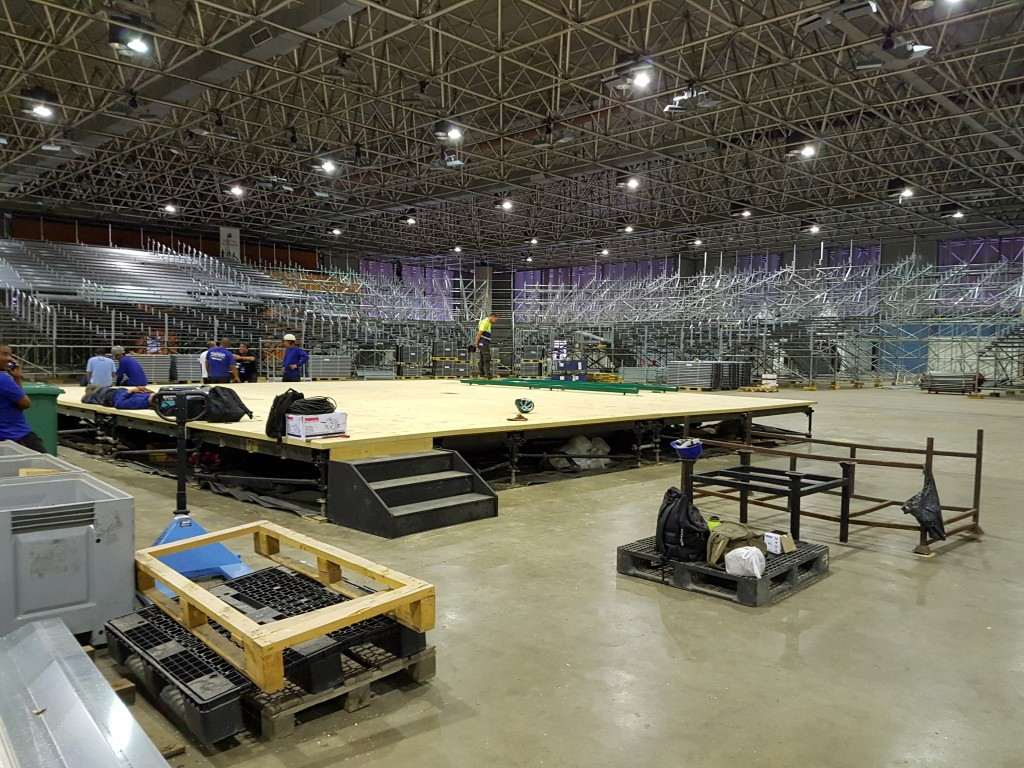 Preparation work is ongoing at the Rio 2016 Riocentro weightlifting venue in the Olympic Park ©IWF