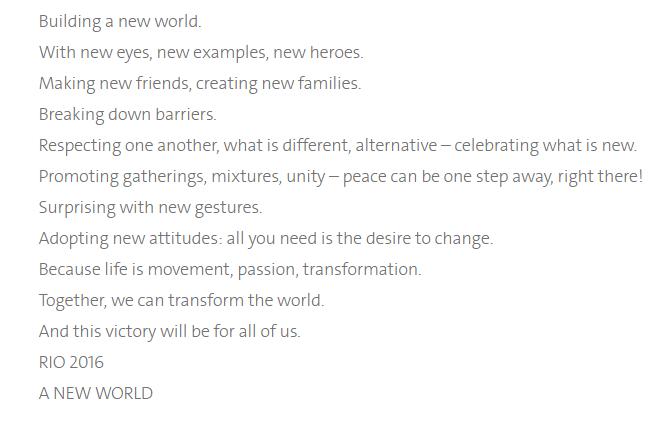 """Rio 2016 Launch """"A New World"""" Slogan"""