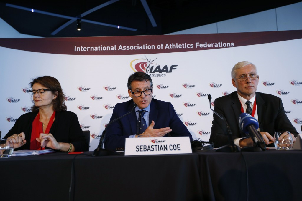 IAAF Task Force chaired by Rune Andersen, right, will deliver a report on whether Russia has improved its anti-doping programme to the IAAF Council, chaired by Sebastian Coe, at a meeting in Vienna ©Getty Images