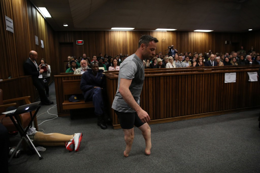 Oscar Pistorius walked across the courtroom without his prosthetic limbs in a bid to show his vulnerability ©Getty Images