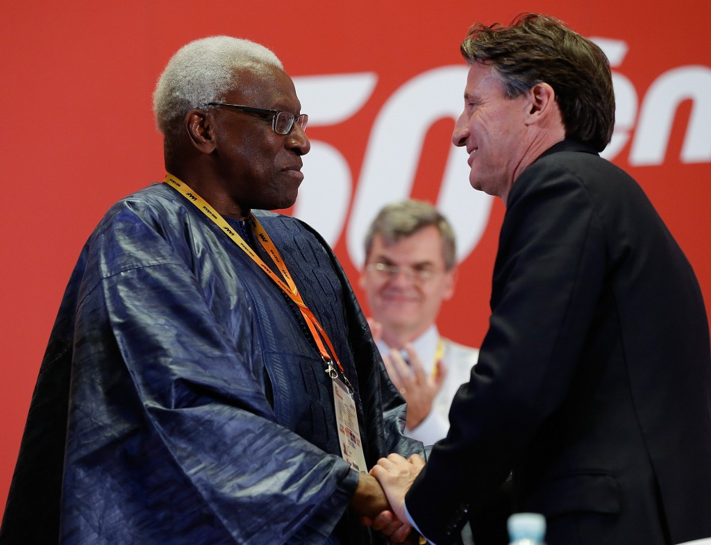 Sebastian Coe (right) is accused of praising Lamine Diack in his acceptance speech in return for help ©Getty Images
