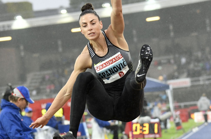 Serbia's Ivana Spanovic earned long jump victory over Olympic champion Brittney Reese on a rainswept night in the 1912 Olympic stadium ©Getty Images