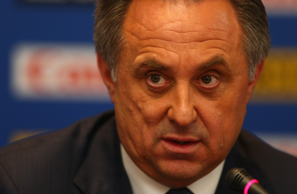 Vitaly Mutko, pictured speaking during the 2013 World Athletics Championships in Moscow, has called for the IAAF to be disbanded ©Getty Images