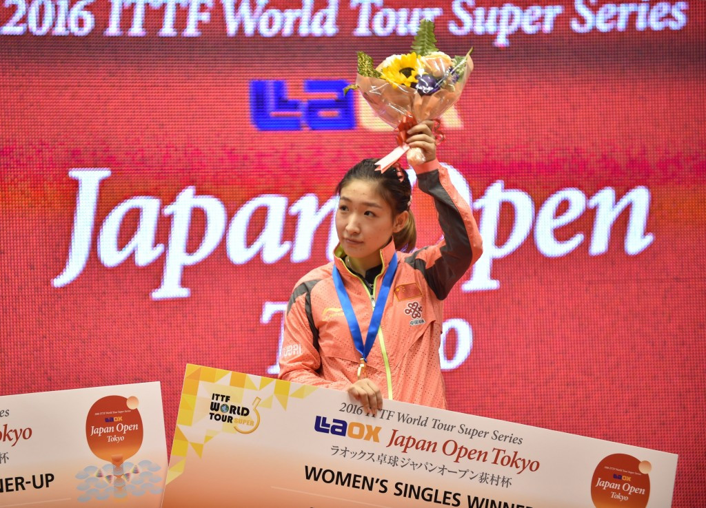 Liu Shiwen celebrates victory in the women's singles final ©Getty Images