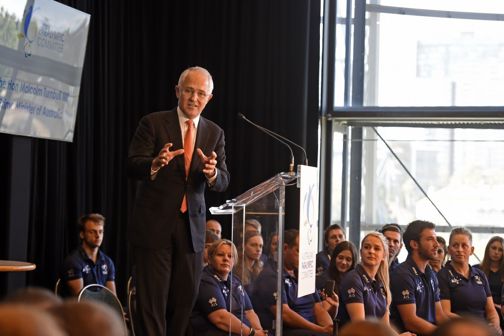 Australian Prime Minister Malcolm Turnbull helped launch their Rio 2016 Paralympic team ©APC