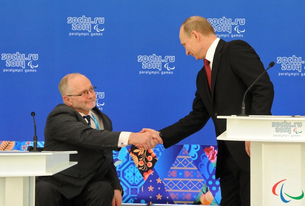 IPC President Sir Philip Craven alongside Russian counterpart Vladimir Putin at Sochi 2014 ©Getty Images