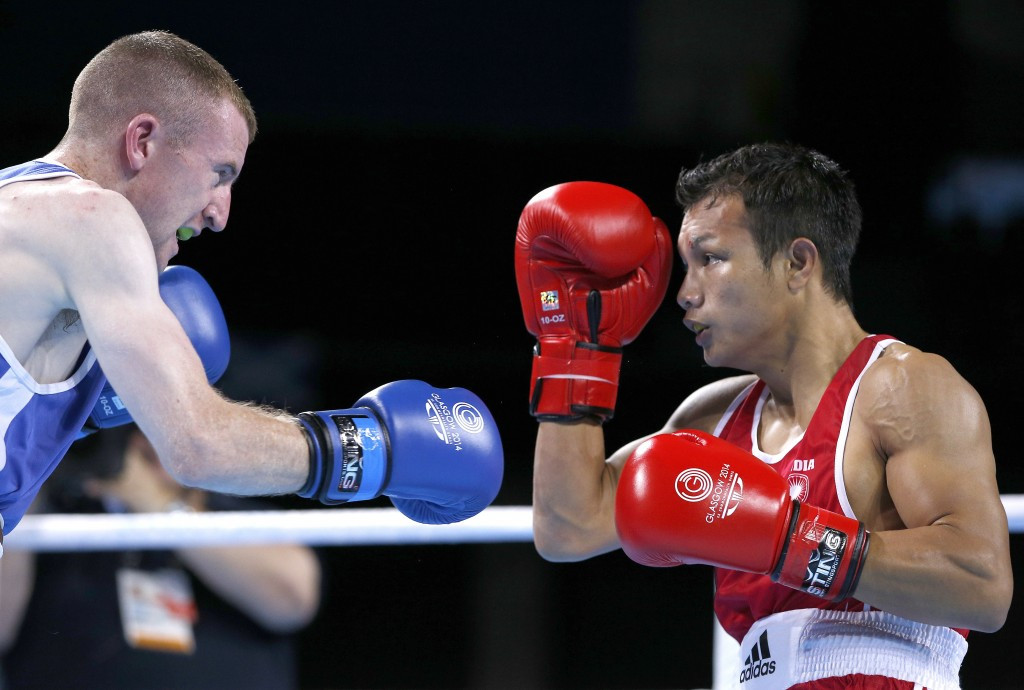 India's Devendro Singh Laishram, pictured at the Glasgow 2014 Commonwealth Games, moved into the light flyweight quarter-finals