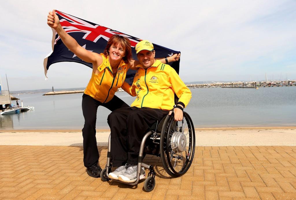 Liesl Tesch (left) celebrates London 2012 gold with Daniel Fitzgibbon ©Getty Images