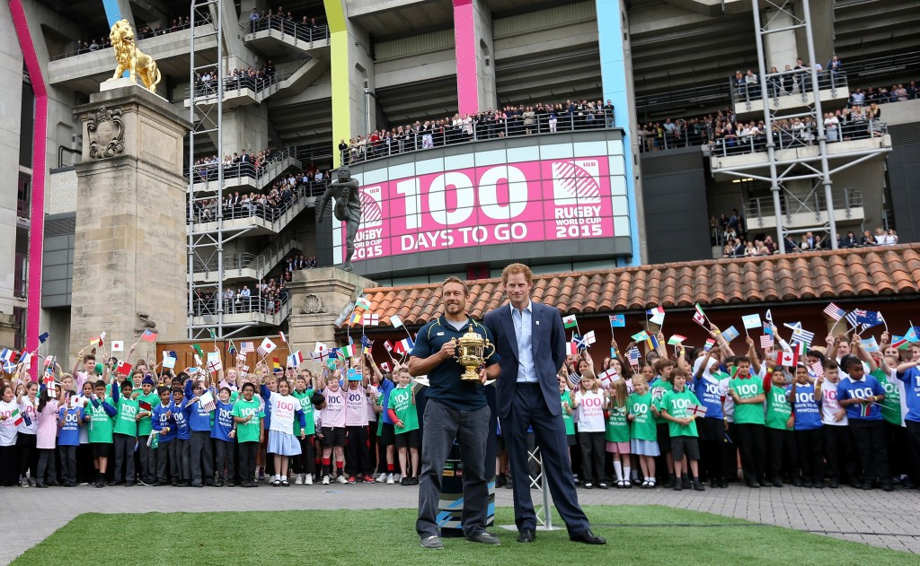Prince Harry and Jonny Wilkinson met with school children at the launch of the Rugby World Cup Trophy Tour ©England 2015