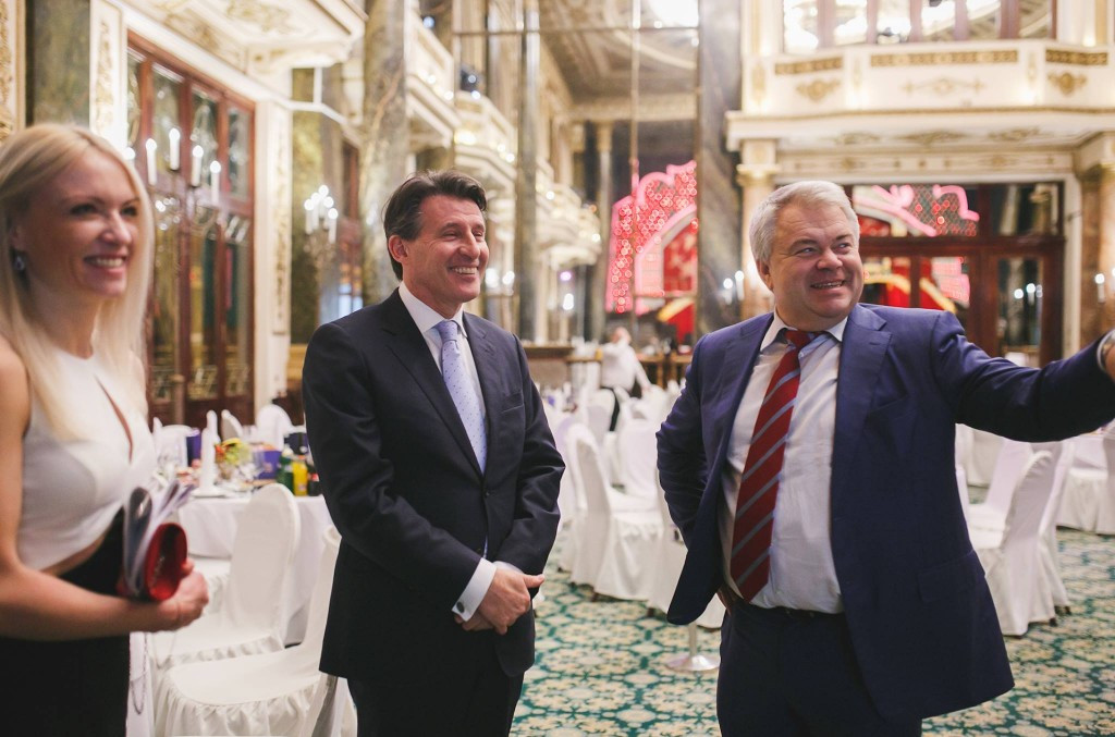 ARAF secretary general Mikhail Butov, right, pictured in Moscow during happier times with Sebastian Coe before the IAAF banned Russia following claims of state-supported doping ©Facebook