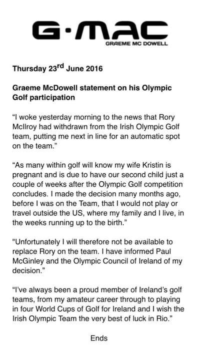 Graeme McDowell issued a statement this morning explaining why he did not wish to be considered for selection by Ireland for Rio 2016 because of his fears over the Zika virus ©Graeme McDowell/Twitter