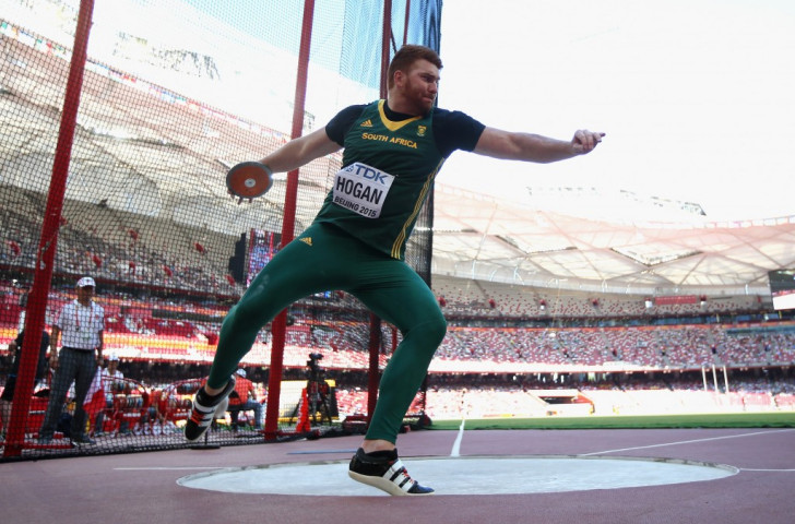 South African discus thrower Victor Hogan was one of three home winners on the second day of the African Athletics Championships in Durban ©Getty Images