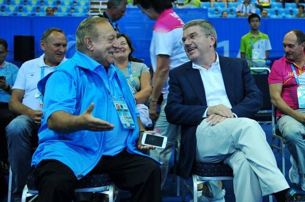 IWF President Tamás Aján (left) with IOC counterpart Thomas Bach