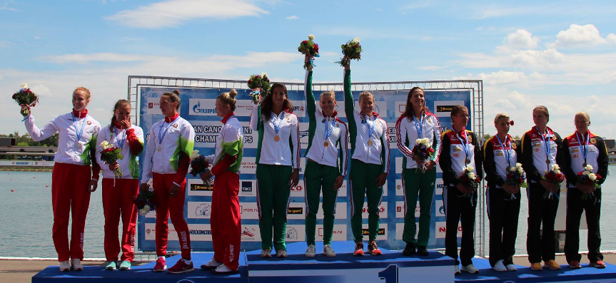 Hungary enjoyed success in both the women's K4 500m, pictured, and the men's equivalent ©ECA