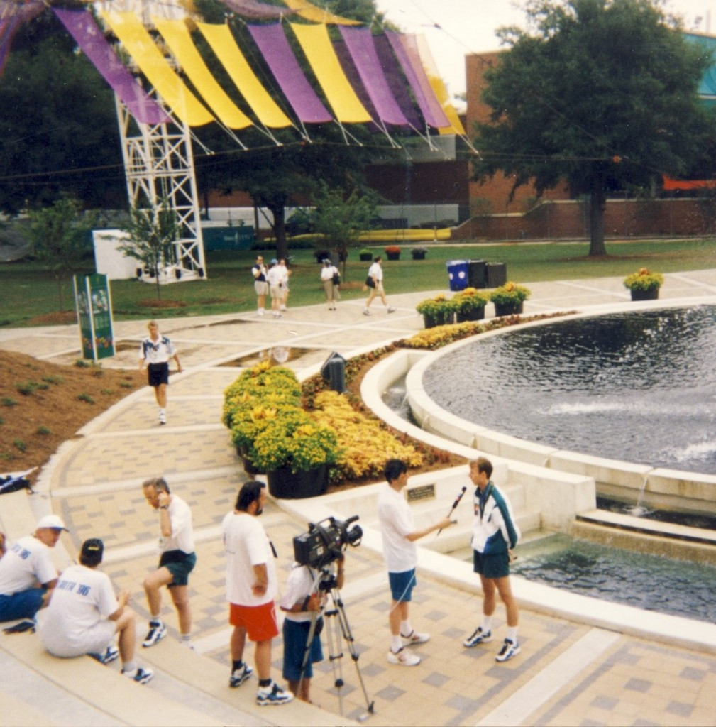 A television interview is conducted at the Atlanta 1996 Athletes' Village ©Philip Barker
