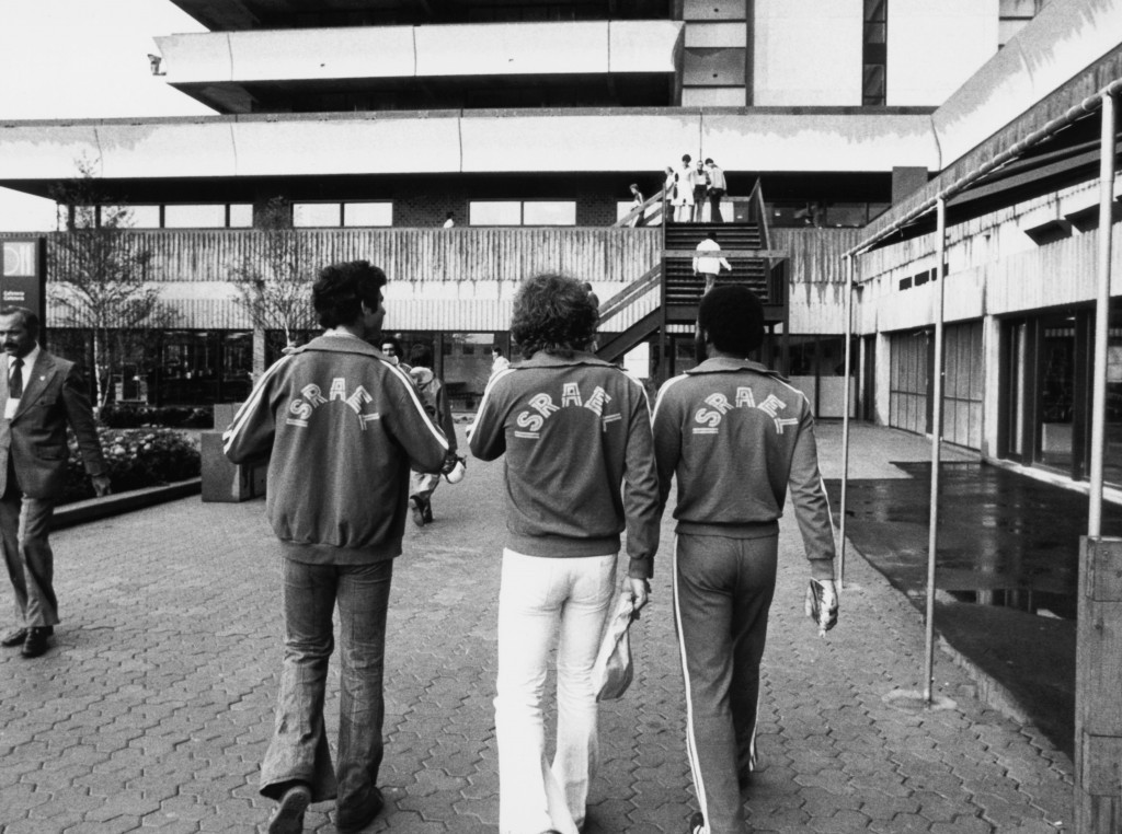 Three members of the Israeli team wander through the Athletes' Village at Montreal 1976 ©Getty Images/Hulton Archive