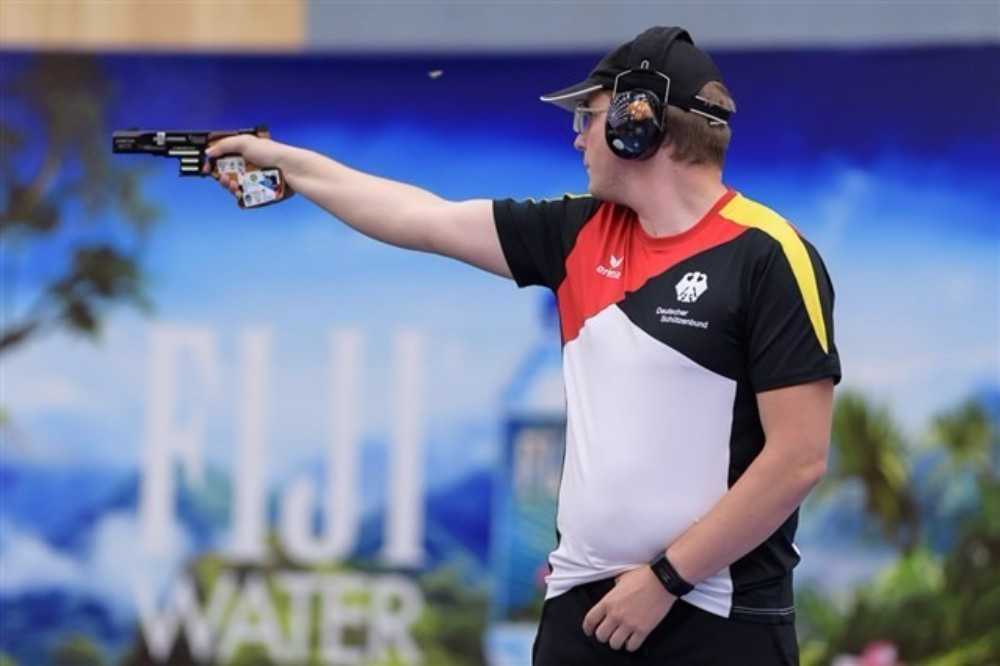 Germany's Christian Reitz earned the 25m rapid fire pistol gold with a stunning finish to the event