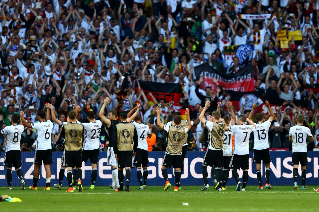 Germany players applaud their supporters after their 3-0 win over Slovakia ©Getty Images
