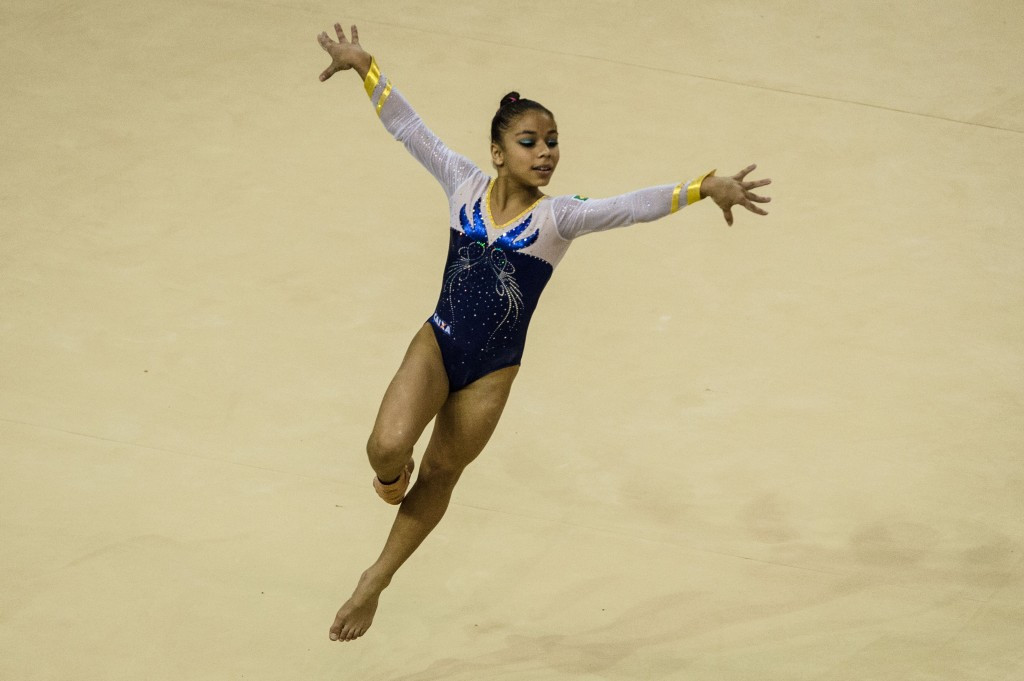 Flávia Saraiva of Brazil also took home two golds as she topped the podium on the beam and on the floor